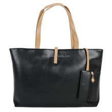 Big volume black women's tote bag with purse