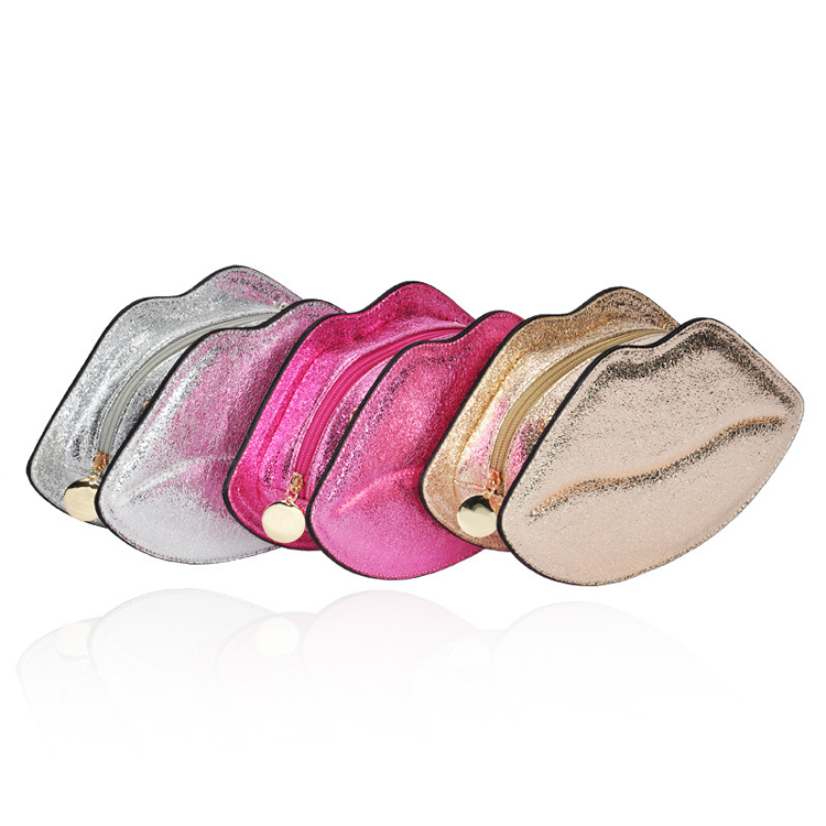New arrival lip shaped cosmetic make up case bag