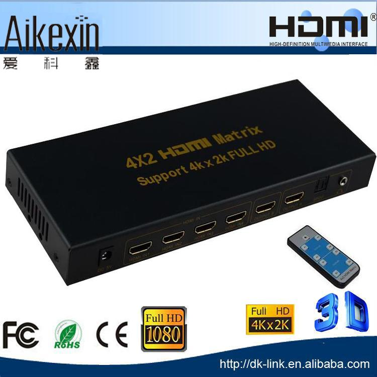 Full HD 2160P HDMI 4x2 Matrix with extra Audio Output with IR Control - 4Kx2k Customized HDMI Matrix Switch 4 in 2 out