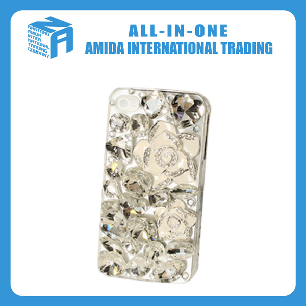 Camellia modeling three-dimensional rhinestone cell phone cases