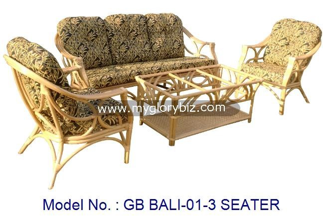 Living Room Natural Rattan Sofa In 3 Seater Set With Table, indoor rattan armchair sofa, antique living set for home furniture