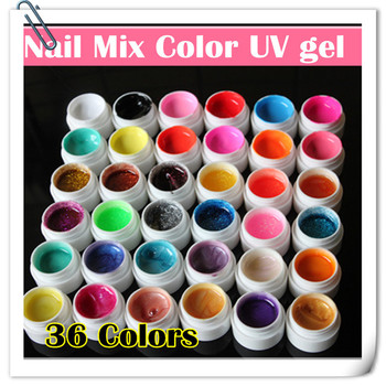 Global Fashion 36 Mix Pure Glitter Shimmer Color UV Gel Nails Kit