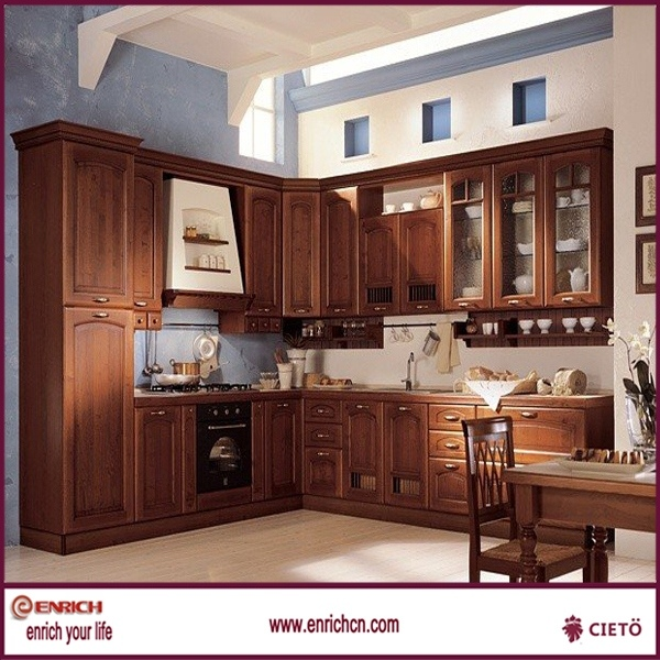 hot sale l shape french vanilla kitchen cabinet