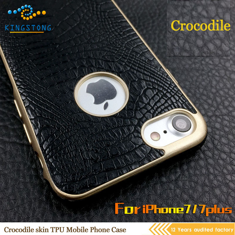 China factory custom crocodile lines mobile phone leather case for iphone 7