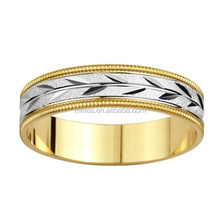 Gold Men Rings Leaf Design Wedding Band Rings for Wholesale