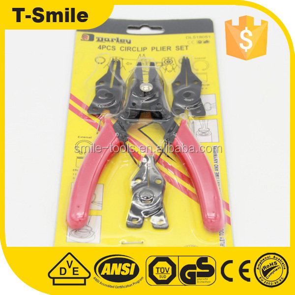 High Quality Low Price Professional 4pcs Circlip Plier Set With Dipped Handle
