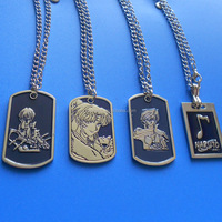 Set of 4 Casting 3D Cartoon Dark Blue Dog Tag Necklace For Kids