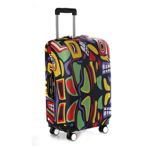 Spandex protective roller luggage travel bag cover, full color sublimation offset printed trolley suitcase case elastic cover