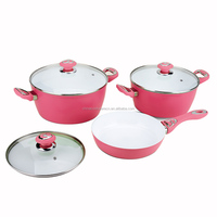 6pcs ceramic coating aluminum forged cookware set in kitchen