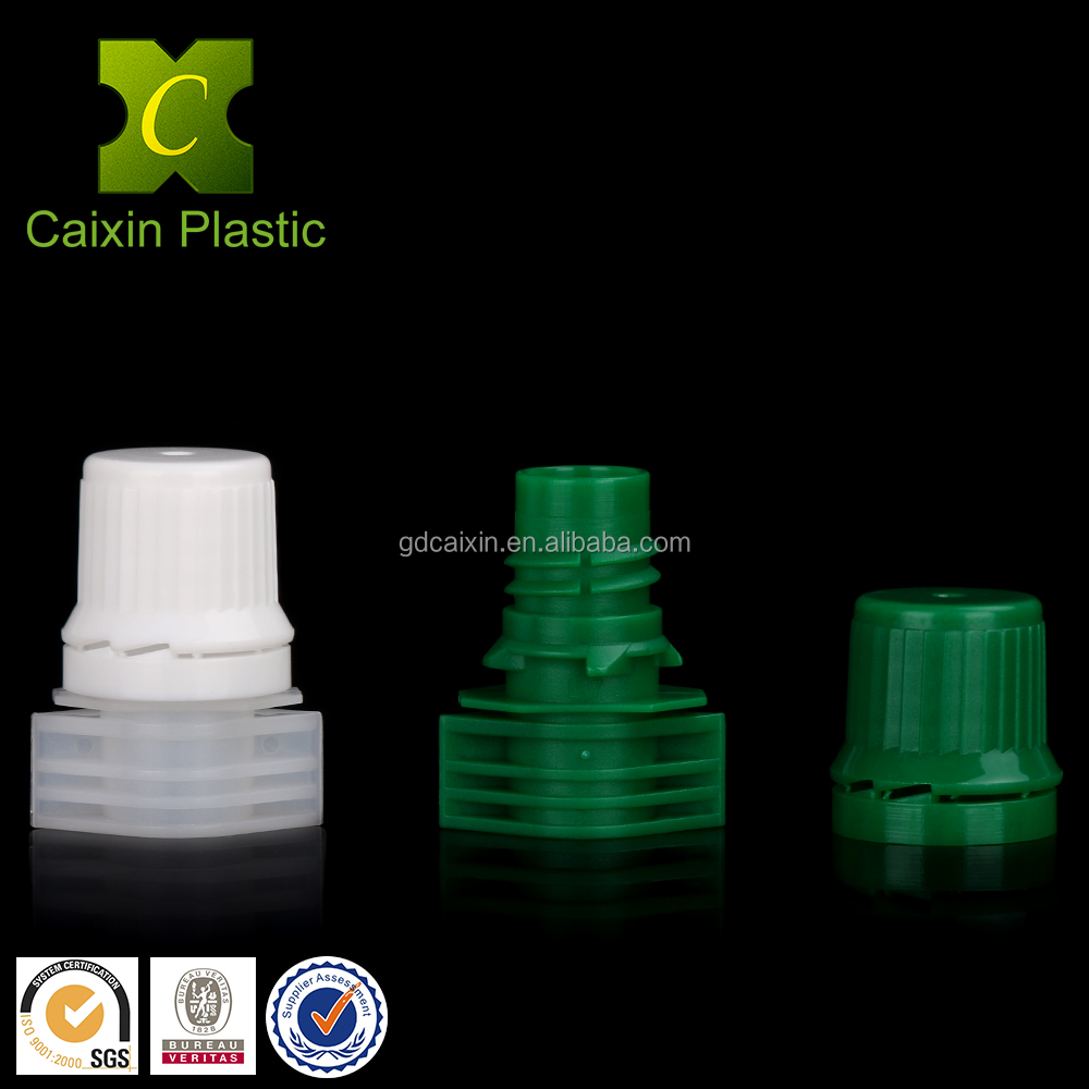 plastic packaging spout and cap with flat top for doypack