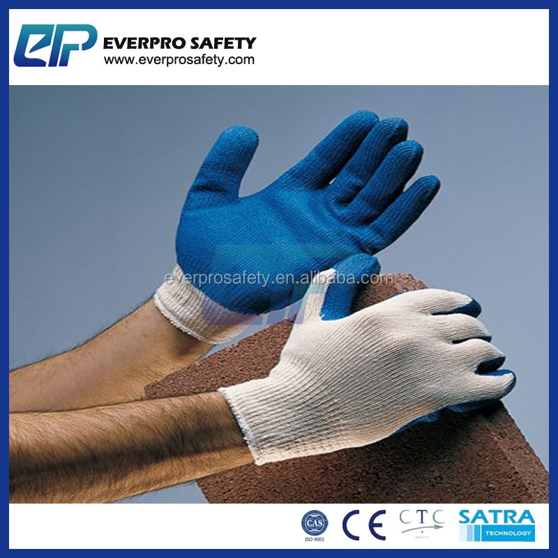 EN388 Poly Cotton Blue Rubber Latex Palm Coated Industrial Safety Hand Gloves