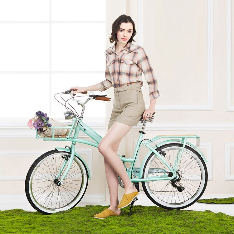 "2016 Classical bike with basket 24"" 7 Speed Fashion Retro City Bicycles Road Ladies Bike"