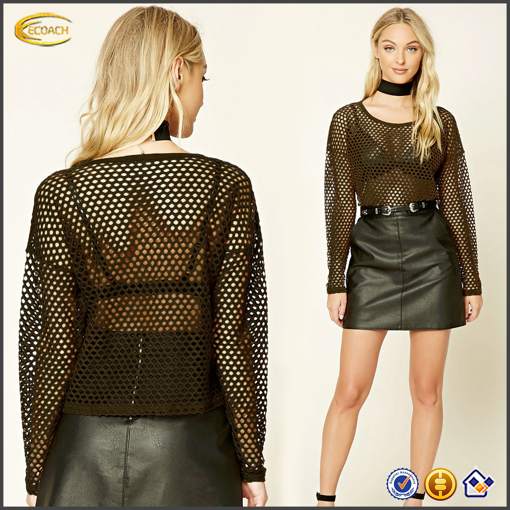 Wholesale latest women fashion black long sleeve knitted top sexy plain open mesh see through round neck blouse for sale