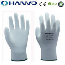 Wholesale HANVO brand 13 gauge white PU palm assembly hand work pu gloves