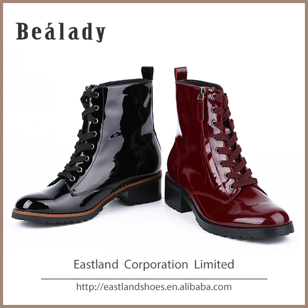 Factory price comfort genuine patent leather women snow boots