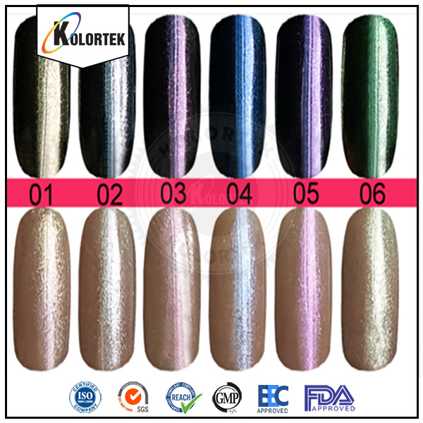 Color shift nail powders, chameleon pigment for nails, cameleon pigment powder china supplier
