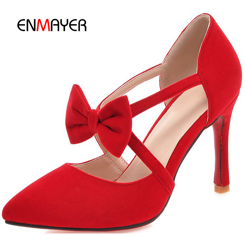 Sweety bowtie pointed toe women thin high heel shoes elegant hand made women pump shoes girls red bottom dress shoes wholesale