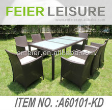 Natural Rattan Garden A60101-KD Outdoor Aluminum Rattan/Wicker Dining Chair Rattan Table And Chair Set