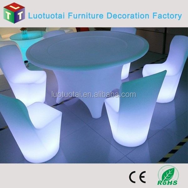 led dining table/ bar furniture table with led light and battery