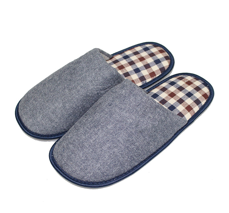 Fabric Sole Cheap Mules House Shoes Check Cotton Spring Slippers For for Family Home