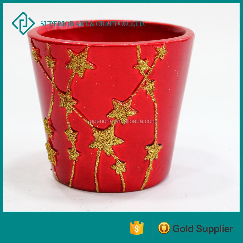 red fashion garden flower pot ceramic flower pot for sale