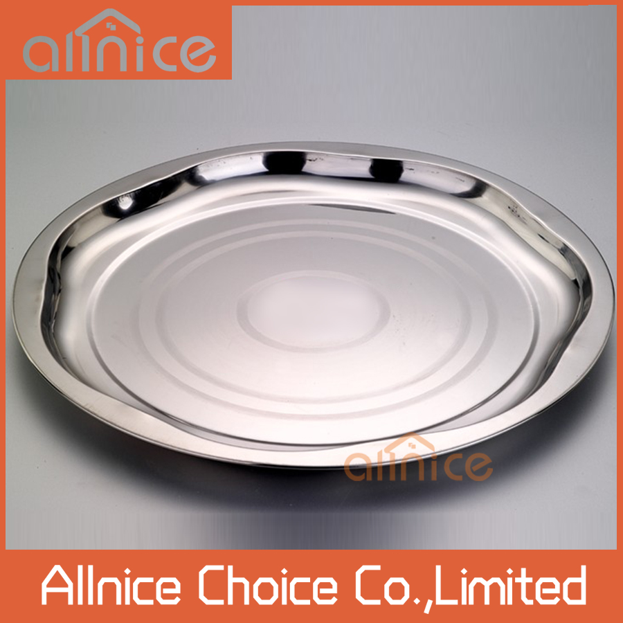 Unique design magnetic service tray/cutlery tray round dinner plate stainless steel serving tray