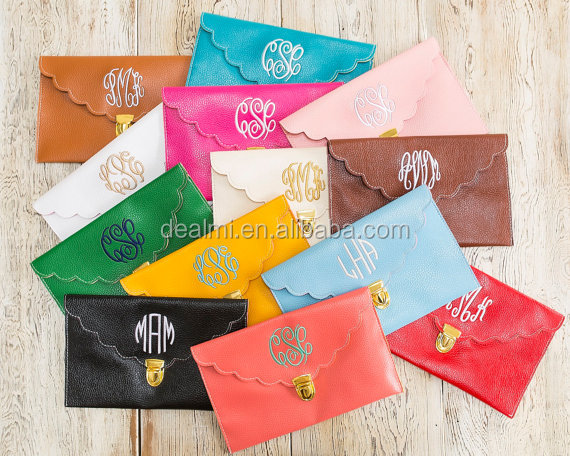 Wholesale Monogrammed Preppy Scalloped Envelope Purse