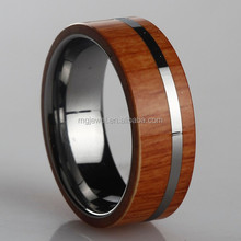 Comfort fit Tungsten wood inlay Ring