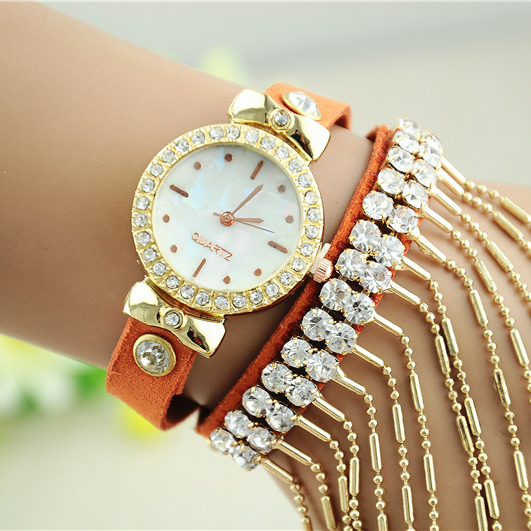 2951 Women Luxury Chain Bracelet Crystal Watch Gold Quartz Wristwatch Ladies Dress Watch Factory Price