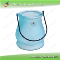 colorful cylinder with handle glass candle holder
