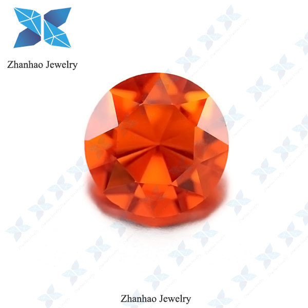 round cut orange glass beads argentina jewelry cz stone wholesale