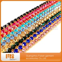 Colorful Rhinestone Single Trimming In Roll,Cup Chain Rhinestone Trimmings For Dresses Decoration