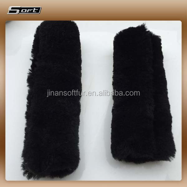 Luxury Warm Real Sheep Wool Car seat belt cover Wholesaler