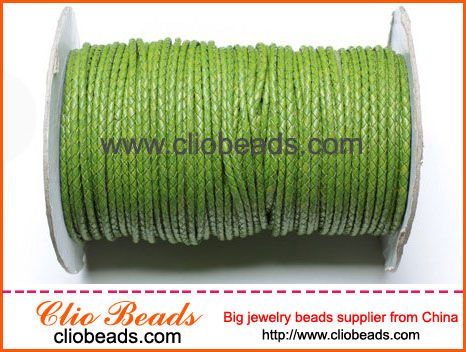 Green Woven Leather Cord For Jewelry Making