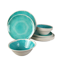 High Quality China Ocean Blue Dinnerware Fine Melamine Dinner Sets 12pcs for 4 People
