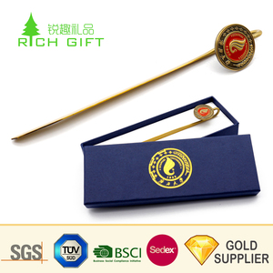 Factory wholesale custom metal zinc alloy 3d soft enamel souvenir bookmarks with gift box for books