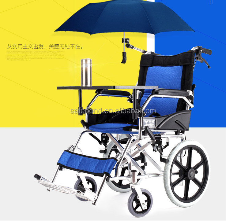 Aluminum Alloy Wheel Chair For Disabled To Travel With Umbrella Device And Table