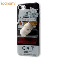 Cute 3D Cat Doll Soft mochi Squishy Animal Phone Case protective Cover for iPhone 6 6S 7 7 Plus