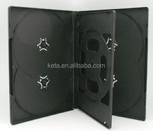 14mm Black Cheap Plastic Long DVD Case for 6 Disc With a Tray