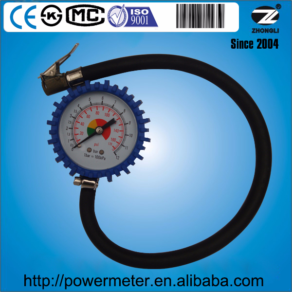 50mm tire pressure gauge and inflator with rubber tube