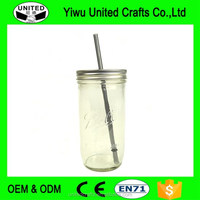 2016 new product Glass Ball Jar Travel Tumbler 24 oz Lid Straw Drink Cup Mug Mason Bar Company 7""