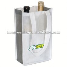 2 bottle non woven wine tote bag with front slash pocket