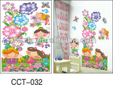 Kids playing 3d wall sticker living room