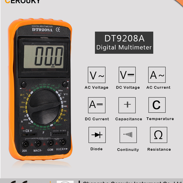 digital multimeter tester dt9208a manual with specifications