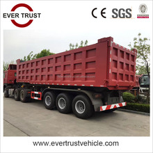 China low price high quality tri-axle 80 ton tractor trailer tipping dump trailer