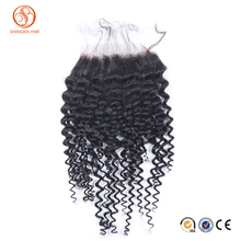 Wholesale human hair curly brazilian virgin hair 4*4 lace top closure natural curly silk base closure