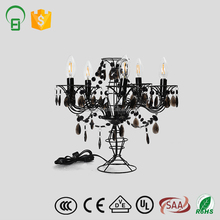 5-Light modern Europe black iron with crystal chandelier table lamp