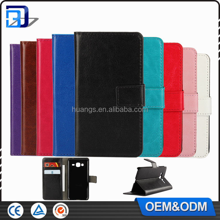 Luxury Crazy Horse Wallet Oil Side Flip PU Leather Case For Samsung Galaxy J3 2016 With Card Slots Phone Accessories