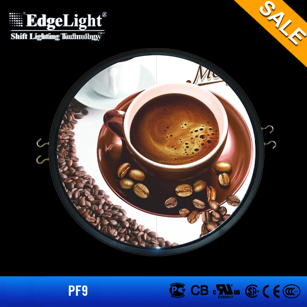 Edgelight PF9 round shape plastic light box photog , double sided led illuminated acrylic panel SALE led display