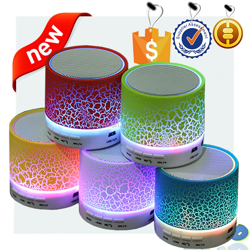 Colorful led light Rechargeable Bluetooth Speaker with LED light, FM radio and TF card functions